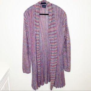 Tribal colorful rainbow cardigan duster sweater